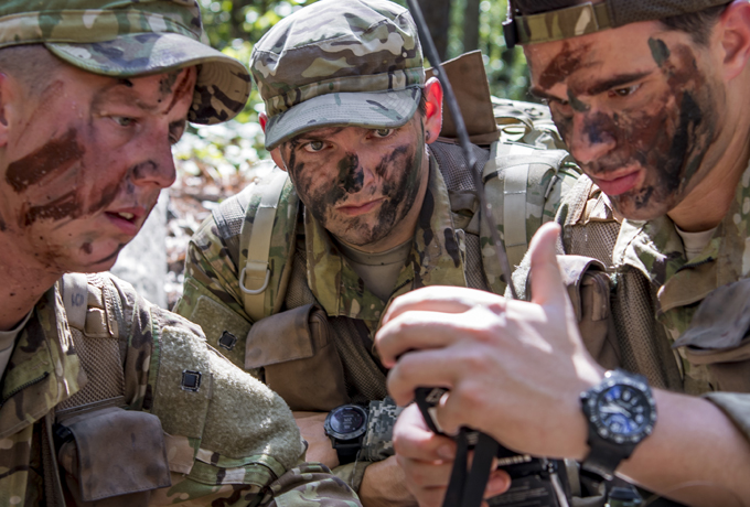 group of soldiers looking at survival equipment